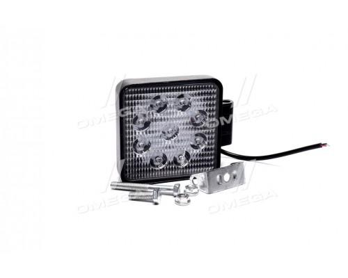Фара LED квадратная 27W, 9 ламп, 105*105*50мм, широкий луч 12/24V