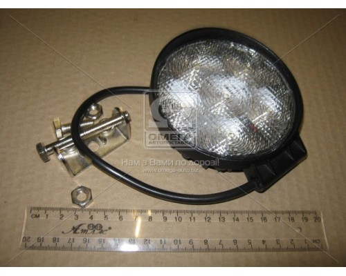 Фара LED круглая 18W, 6 ламп, 110*128мм, широкий луч 12/24V 6000K (ТМ JUBANA)