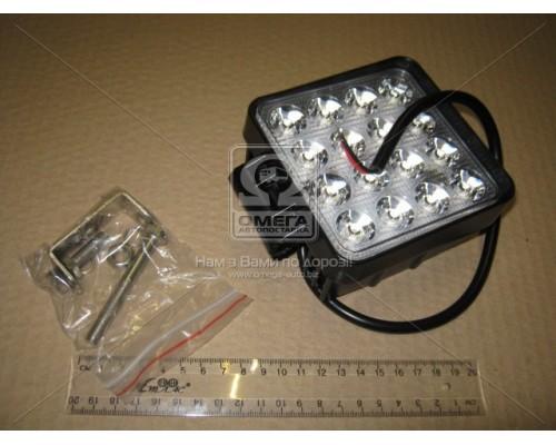 Фара LED квадратная 48W, 16 ламп, 110*164мм, узкий луч 12/24V 6000K (ТМ JUBANA)