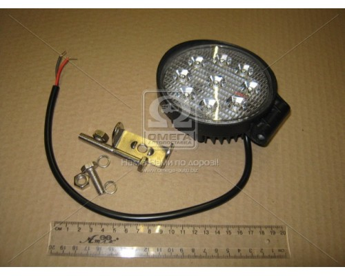 Фара LED круглая 27W, 9 ламп, 110*128мм, узкий луч 12/24V 6000K (ТМ JUBANA)