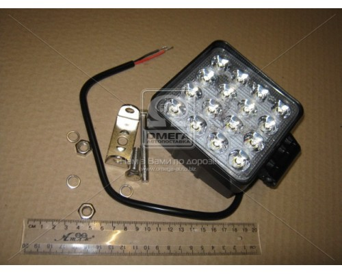 Фара LED квадратная 48W, 16 ламп, 110*164мм, широкий луч 12/24V 6000K (ТМ JUBANA)