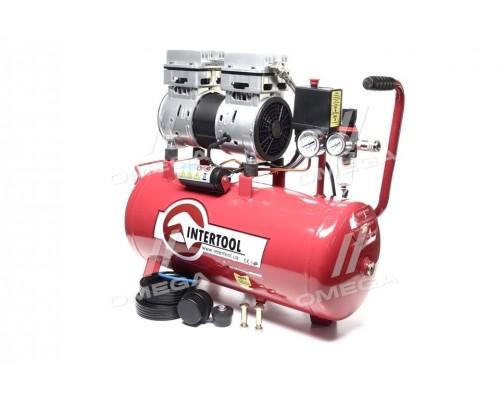 Компрессор 24 л, 1.1 кВт, 220 В, 8 атм, 145 л/мин, малош, безмасл, 2 цилиндра(про-во INTERTOOL)