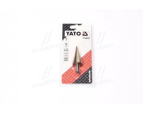 Сверло коническое ступенчатая титан по метал HSS 4241, O = 4-22 мм, L = 75 мм, шт(про-во YATO)