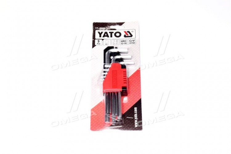 Ключи 6-гранные Г-образные: Cr-V, М 3-17 мм,М 1,5-10 мм,9 шт.комплект (про-во YATO) - YT-0500 - фото 1