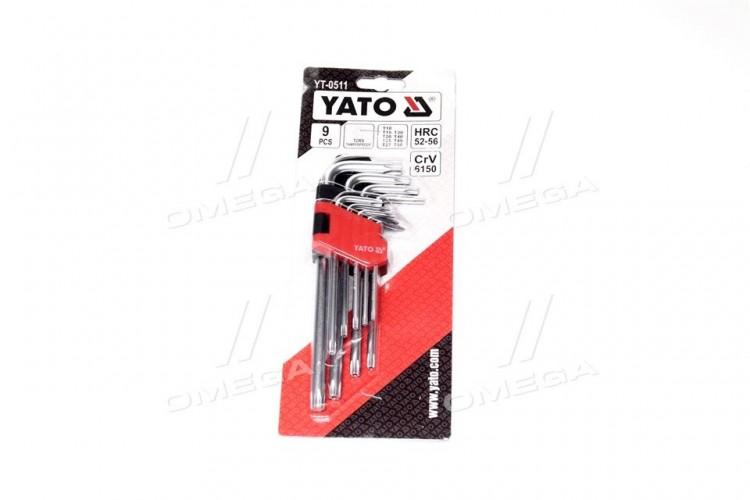 """Ключи """"Тоrх"""" Г-образные: Cr-V, Т10-Т50 короткие с отверстием, 9 шт,компл(про-во YATO) - YT-0511 - фото 1"""