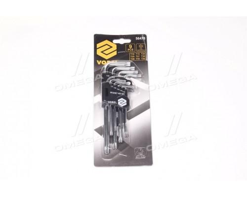 Ключи Тоrх L-образные: Т10-Т50,Cr-V,9 шт.компл(про-во VOREL)