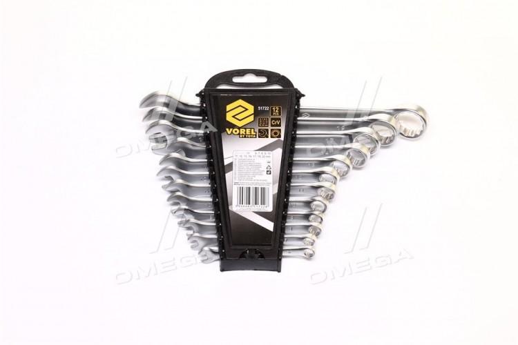 Ключи рожково-накидные Cr-V, М 6-22 мм, Набор 12 шт.компл(про-во VOREL) - 51722 - фото 1