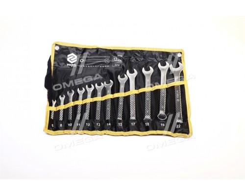 Ключи рожково-накидные Cr-V плахте,М 6-22 мм,Набор 12 шт.компл(про-во VOREL)
