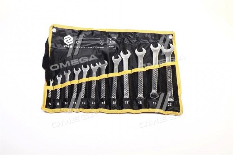 Ключи рожково-накидные Cr-V плахте,М 6-22 мм,Набор 12 шт.компл(про-во VOREL) - 51710 - фото 1