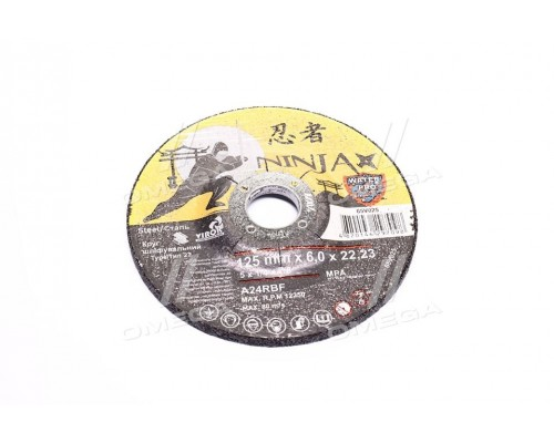 Круг шлифовальный по металлу тип 27 ninja тм  o=125х22.23 мм t=6мм(про-во VIROK)