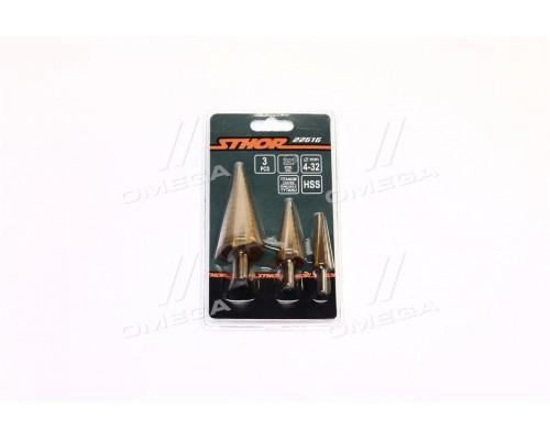 Сверла конические ступенчатые по металлу STHOR: HSS 4241,O = 4-32 мм, 3 шт,комплект(про-во VOREL)