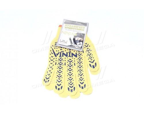Перчатки трикотажные желтые NINJA из ПВХ (10 класс,хлопок 70,полиэстер 30)