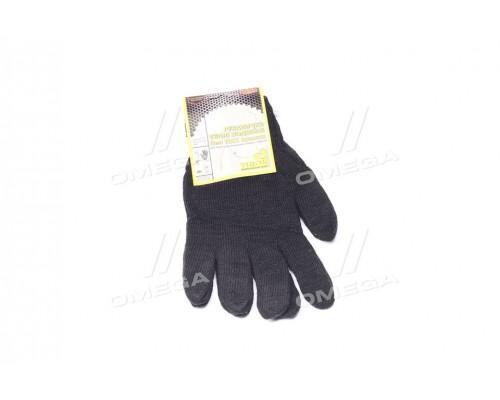 Перчатки трикотаж теплые двойные черные,хлопок70,полиэстер30 (Про-во Украина)