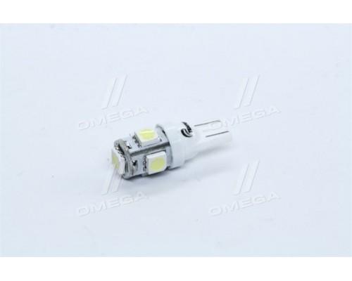 Лампа LED б/ц габарит и панель приборов T10 5SMD W5W 12V WHITE <TEMPEST>
