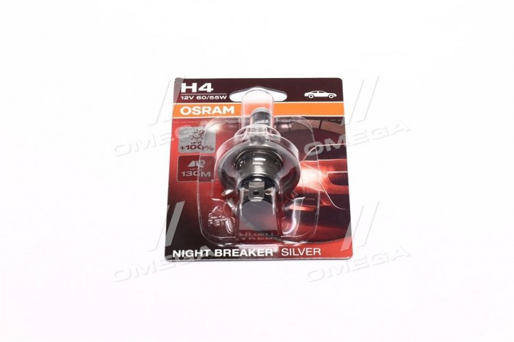 Лампа фарная H4 12V 60/55W P43t NIGHT BREAKER SILVER (+100) blister (пр-во OSRAM) - 64193NBS-01B - фото 1