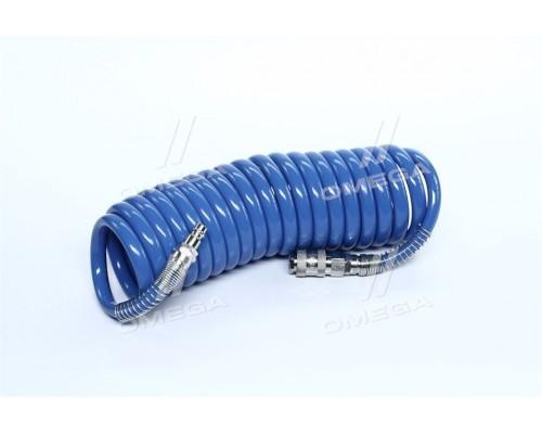 Шланг спиральный полиуретановый 8*12 мм,5м с быстроразъемными соединениями (про-во INTERTOOL)